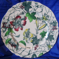 Green Toile Lily Berries Ivy Hand Painted Plate L