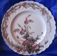 Brown Pink Poppy Transferware Vintage Plate S