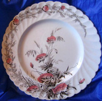 Brown Pink Poppy Transferware Vintage Plate L