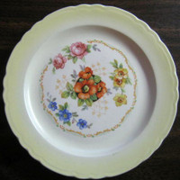 Sweet Lemon Yellow Poppy Roses 1930s Plate S