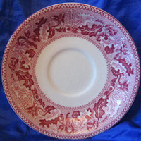 Pink Red Toile Acorn Leaf Vtg Dish Candle Holder