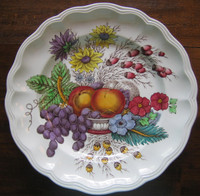 Decorative Plate - Hand Colored Grapes Peaches Daisies Scalloped Edge Large