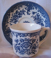 Blue White Toile Roses Vintage Cup & Saucer