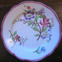 OLD Belgian Purple Pansy Pink Feather Edge Plate