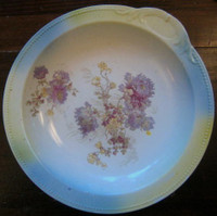 Antique Purple Yellow Mum Bowl Pastel Bowl w/ Handle