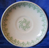 Antique Green Fern Garland Ironstone Dish