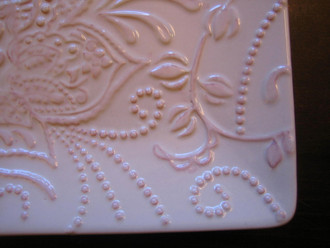 Pale Pink White Scrolled Raised Exotic Flower Square Plate Tile