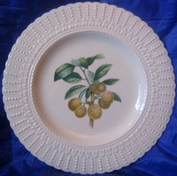 OLD Raised Beaded Rope Edge Botanical Mirabelle Plum Plate