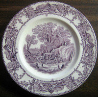Purple Toile Transferware Horses Chickens Wagon Plate S
