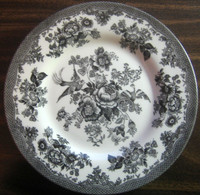 Black Toile Rose Exotic Bird Chinoiserie Paris Plate M 1