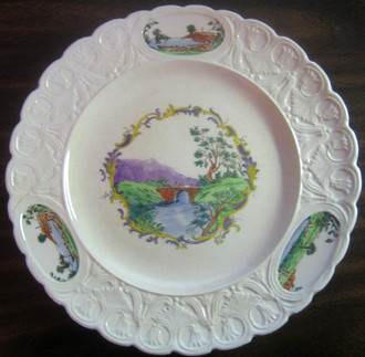 OLD Story Book Hand Painted Bridge Cow River Tulip Edge Plate