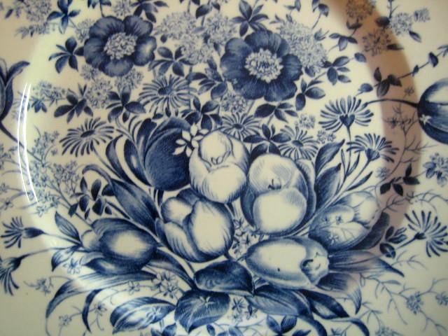 Blue Toile Transferware Tulip Vintage Plate Center www.DecorativeDishes.net