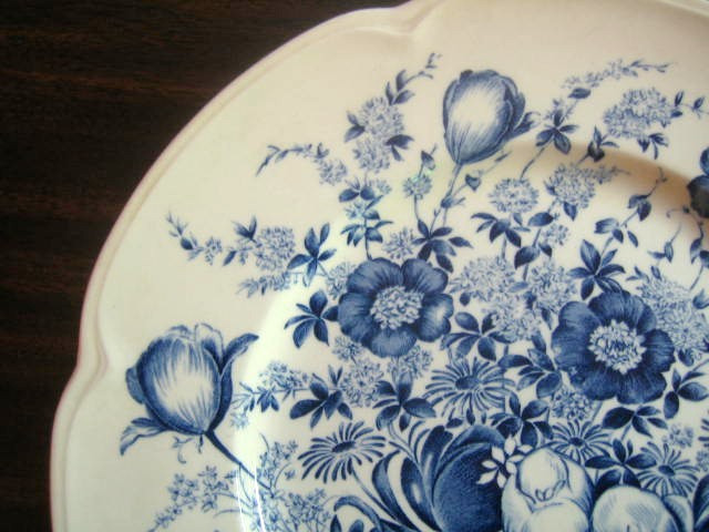 Blue Toile Transferware Tulip Vintage Plate Edge www.DecorativeDishes.net