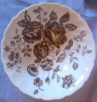 Chocolate Brown Toile Roses Carnation Vintage Trinket Dish