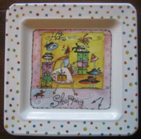 Whimsical Girl Dog Hats Shopping Polka-dot Square Plate Italy