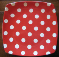 Whimsical Red White Polka Dots Dotted Square Plate Tile