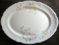 OLD Vintage USA Pink Yellow Roses 3-D Edge Trim Oval Platter
