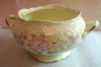 OLD Vintage USA Pastel Roses 3-D Edge Handled Bowl