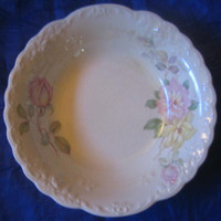 OLD Vintage USA Pastel Roses 3-D Edge Trinket Dish Small Bowl