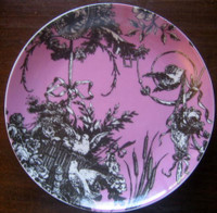 Rose Pink Black Toile Cameo Birds Ribbon Basket Romantic Plate D