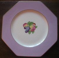 Lavender Octagonal Peach Plum Gold Trim Old Handpainted Plate
