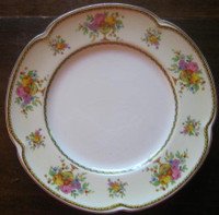 Pink Yellow Roses Cream Scalloped Gold Edge Vintage Paris Chic Plate