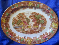HUGE Brown Toile Green Blue Red Yellow Boy Sheep Chickens Oval Platter