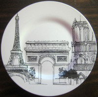 Black White Drawing Paris Eiffel Tower Arc Triomphe Notre Dame Plate  M