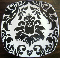 Black on White Exotic Wallpaper Square Plate Tile M