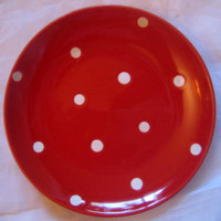 Whimsical White Dots on Red Small Dotted Plate