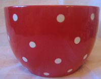 White Red Polka Dot Dots Retro Bowl M