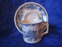 Blue Toile Mum Poppy Vintage Cup and Saucer