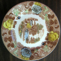 Brown Toile Blue Yellow Cabin Lake Rose Plate S