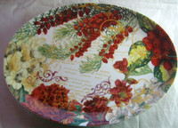Rich Deep Red Berries Green Gold Script Botanical Oval Platter