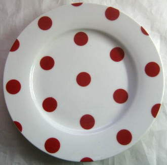Red White Polka Dots Dotted Retro Cake Plate
