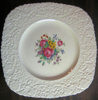 Large Textured Leaf Daisy Scroll Pink Rose OLD Square Plate England