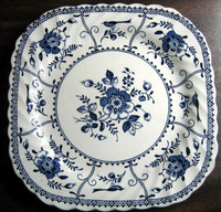 Decorative Plate - Square Cobalt Blue on White Exotic Blue Bird Poppy Vintage