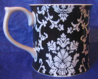 White on Black Damask Exotic Wallpaper Scroll Mug Large