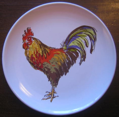 Country French Colorful Proud Rooster Mini Plate