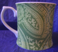 Green White Stencil Daisy Paisley Soho Apartment Boho Chic Mug