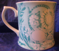 Aqua White Stencil Daisy Scroll Soho Apartment Boho Chic Large Mug