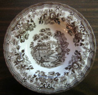 Brown Taupe Toile 3-D Chinoiserie Swan Roses Flat Bowl