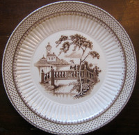 Brown Cream Toile Woman Bridge Castle Lake Plate S