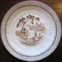 Brown Cream Toile Woman Garden Castle Lake Plate M