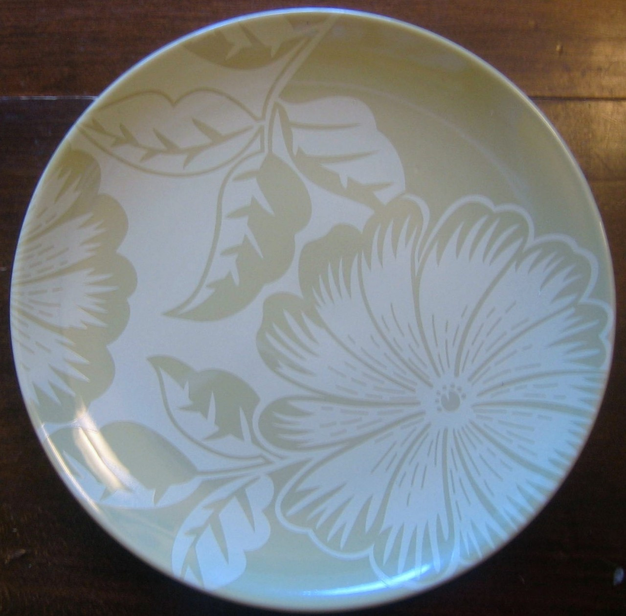 Stencil Sage Green on Green Hibiscus Leaf Plate