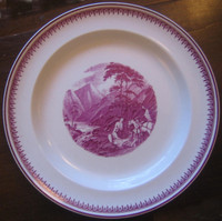 Fuschia Deep Pink Mountain Stream Horse 1920's Plate M