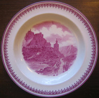 Fuschia Deep Pink Exotic Mountain Boy Couple 1920's Plate M