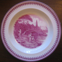 Fuschia Deep Pink Fisherman Woman Bridge River 1920's Plate S