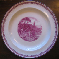 Fuschia Deep Pink Fisherman Woman Bridge River 1920's Plate M