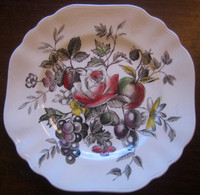 Black Toile Transferware Pink Rose Grapes Plum Square Plate